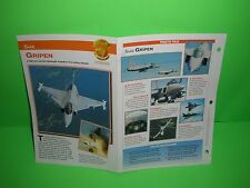 SAAB GRIPEN AIRCRAFT FACTS CARD AIRPLANE BOOK 172