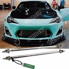 "SILVER ADJUSTABLE 9.7""-13.2"" FRONT BUMPER LIP SPLITTER ROD STRUT TIE BAR SUPPORT"
