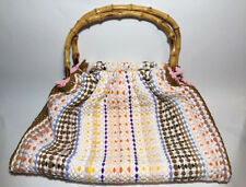 VINTAGE REVERSIBLE BATH MAT HAND BAG WITH BAMBOO HANDLES c60/70s