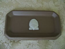 WEDGWOOD TAUPE BROWN JASPERWARE RECTANGULAR TRAY WITH SEA SHELL DECORATION