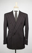 New D'AVENZA Brown Striped Wool Double Breasted Suit Size 50/40 R $4295