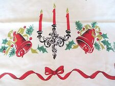 "VTG XMAS TABLECLOTH--CANDLE SCONCE/BELLS/GREENERY/RIBBON BORDER--40"" x 44"""