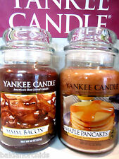 Yankee Candle MAPLE PANCAKES & MMM BACON 22 oz Lg Jars USA Exclusive X 2 RARE