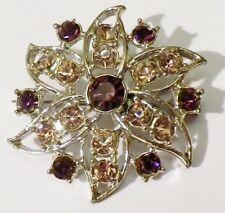 broche bijou vintage couleur argent fleur cristaux rose et mauve améthiste 4083