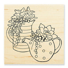 Potted Succulents Plants Teapot Wood Mounted Rubber Stamp Stampendous W184 NEW