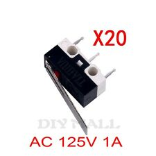 20pcs Hinge Lever Arm SPDT 1NO 1NC Momentary Micro Switch Button3 Pin AC 125V 1A