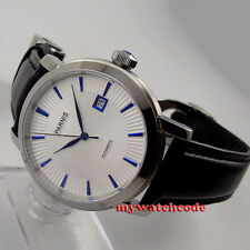 41mm parnis white dial blue marks date miyota 8215 automatic mens watch P554