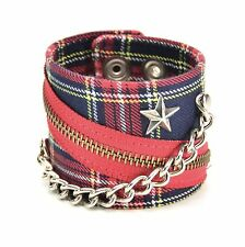 Plaid Star Chain British Punk Gothic Wrist Cuff Rockabilly Bracelet-Blue