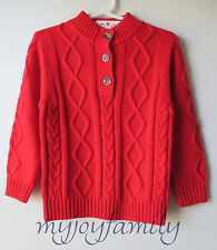HANNA ANDERSSON Fisherman Cableknit Button Sweater Apple Red 160 14 NWT