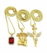 MENS HIP HOP ICED RUBY, ANGEL & JESUS FACE PENDANT w/ BOX CHAIN NECKLACE SET 28G