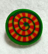 "Fimo Art Buttons Lot of 6 Round Spiral Pattern Green Yellow Orange 3/4"" Across"