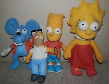 """Simpsons  Scratchy MOUSE  Nanco The Rat 14"""" Plush AND bart,homer,lisa LOT of 4"""