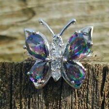 .925 Sterling Silver Ring size 6 CZ Butterfly Rainbow Topaz Midi Ladies New m04