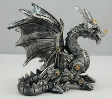 Sitting Steampunk Dragon Figurine Statue Collectible Geek Ornament Fantasy