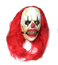 Killer Clown Mask with Red Wig Latex Halloween Fancy Dress Costume Tortured