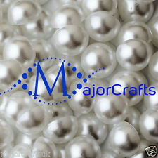 50pcs White 12mm Flat Back Half Round Resin Pearls, Crafts Beads by MajorCrafts