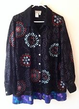 COLDWATER CREEK Black Embroidered L/S Button Up Tunic Shirt PLUS SZ 1X Boho Silk