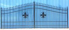Custom Wrought Iron Driveway Entry Gate 16ft Wide.  Double Swing Driveway Gate