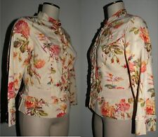 Anthropologie Elevenses Multi-Color Floral Jacket Mandarin collar Sz 10