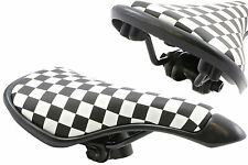 BLACK & WHITE CHEQUERED BMX SADDLE 80's RETRO OLD SCHOOL BMX LARGE SIZE SA9619