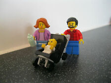 Lego Family with baby in Pushchair/ Pram Minifigures taken from 60134 Brand New