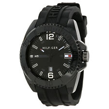 Tommy Hilfiger Black Dial Black Silicone Strap Mens Watch 1791041