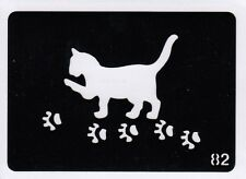 GT82 Body Art Temporary Glitter Tattoo Stencils - Cat paw prints paws