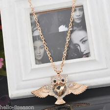 Fashion Womens Owl Crystal Rhinestone Pendant Necklace Sweater Chain Jewelry