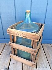 Antique Vintage Buttress Water Co. Glass Bottle in Wood Wooden Crate Box 5 gall