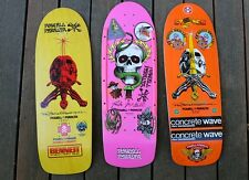 Powell Peralta SKULL AND SWORD Reissue Skateboard Deck Vintage Stickers Yellow