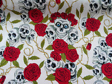 White & Red Skulls and Roses Cotton Fabric By the Metre Goth Rock Halloween