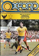 Football Programme OXFORD UNITED v ARSENAL Oct 1984 Milk Cup