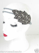 Silver Leaf Pearl Headpiece Vintage 1920s Flapper Headband Great Gatsby Hair k43