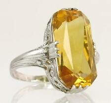 Antique Estate Art Deco 14K White Gold 5.60ct Citrine Filigree Ring 3.5g $965