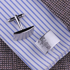 Men Stainless Steel Business Shirt Silver Cufflinks Rectangle Wedding Cuff Links