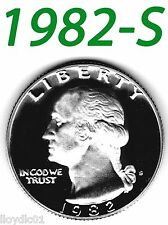 1982-S Washington Bright Clear Uncirculated Proof Quarter.=