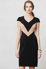 Anthropologie Chevron Pencil Dress Sz 8, Black & Nude, Fever City By Ruby Belle