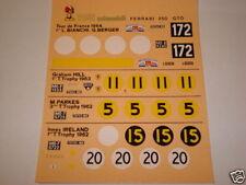 1/43 DECAL FERRAR 250 GTO 1962 5 versioni Tour de France TOURIST TROPHY