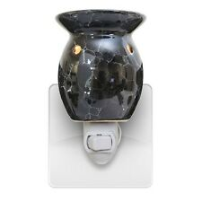 New Black Marbled Plug In Scented Oil Tart Burner Warmer Night Light Lamp Gift