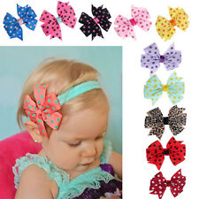 10PCS Different Colors Babys Wave Point Bowknot Babys Elastic Headband Hairband
