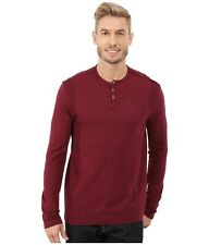 NEW CALVIN KLEIN JEANS DEEP OXBLOOD RED RIBBED TRIM CASUAL HENLEY SHIRT SIZE XL