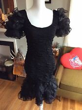 Vintage 1980s Black Womens Tight Wiggle Prom Dress Puffy Sleeves Lace S/M