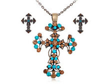 Vintage Blue Color Topaz Crystal Rhinestone Cross Holy Pendant Earring Set