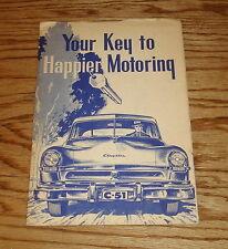 Original 1952 Chrysler Windsor Owners Operators Manual & Service Certificate 52