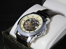 Elgin FG7081 Men's  Round Analog Skelton Automatic Sub Second Dial Leather Watch