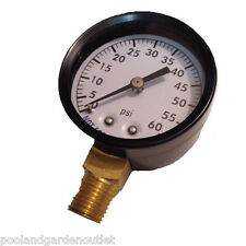 "Swimming Pool Spa Filter Pressure Gauge, Metal Housing 0-60 psi 1/4"" Lower Mount"