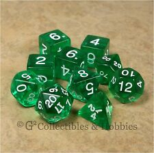 NEW 10 Transparent Green D&D RPG Polyhedral Game Dice Set in Tube 10pc D20 D12 +