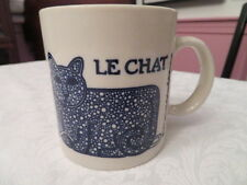 NG TAYLOR COFFEE CUP MUG BLUE LE CHAT with MOUSE AND YARN NO RESERVE