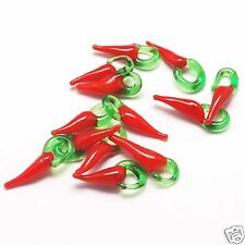 20 red chilli pepper glass charms pendants
