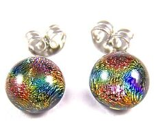 """DICHROIC Earrings Copper Gold Blue Rainbow Halo Patterned Post 1/4"""" 7mm STUDS"""